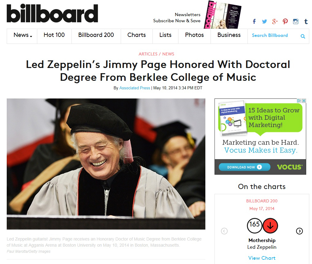 Jimmy Page at Berklee Billboard