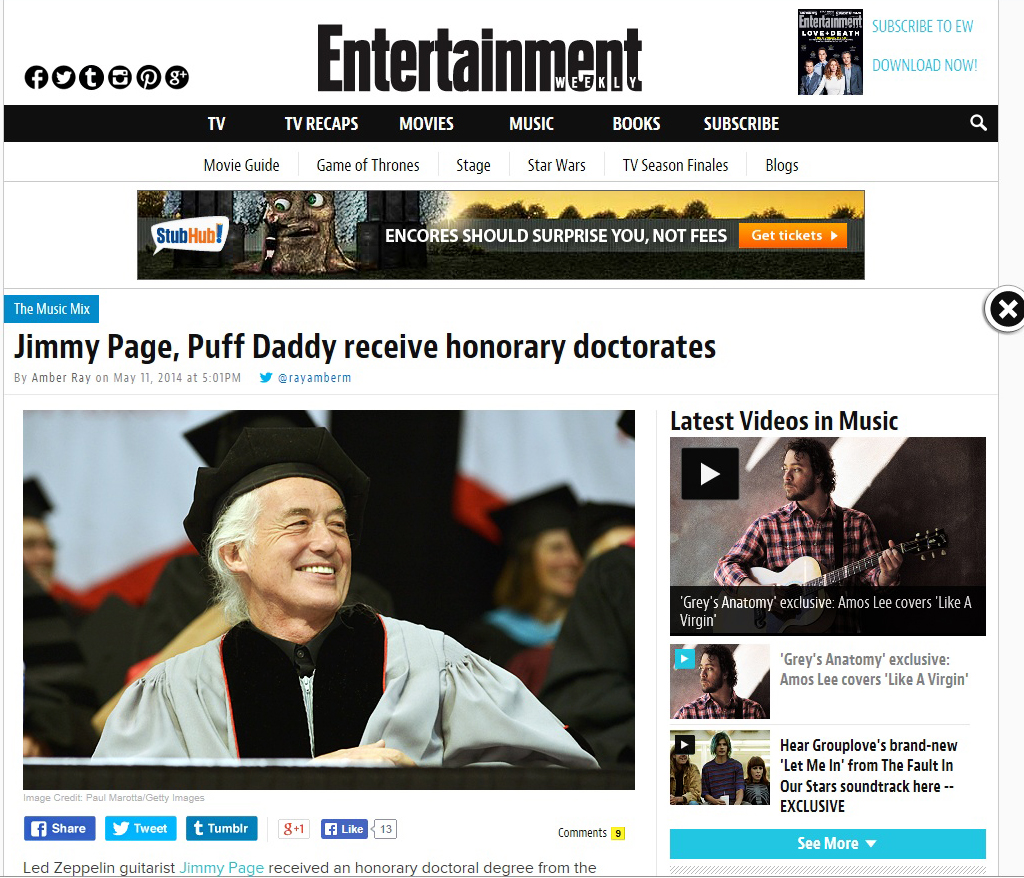 Jimmy Page at Berklee Entertainment Weekly