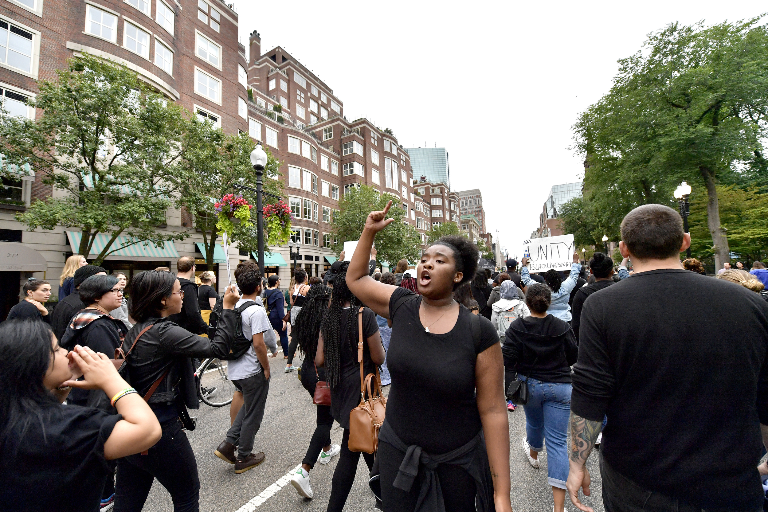 BOSTON, MA, July 10, 2016: Several hundred Black Lives Matter protestors gathered to march in downtown Boston from Downtown Crossing to Dudley Square on July 10, 2016. Boston Police guided them through the streets of Boston and the protest took place without incident. CREDIT: Paul Marotta