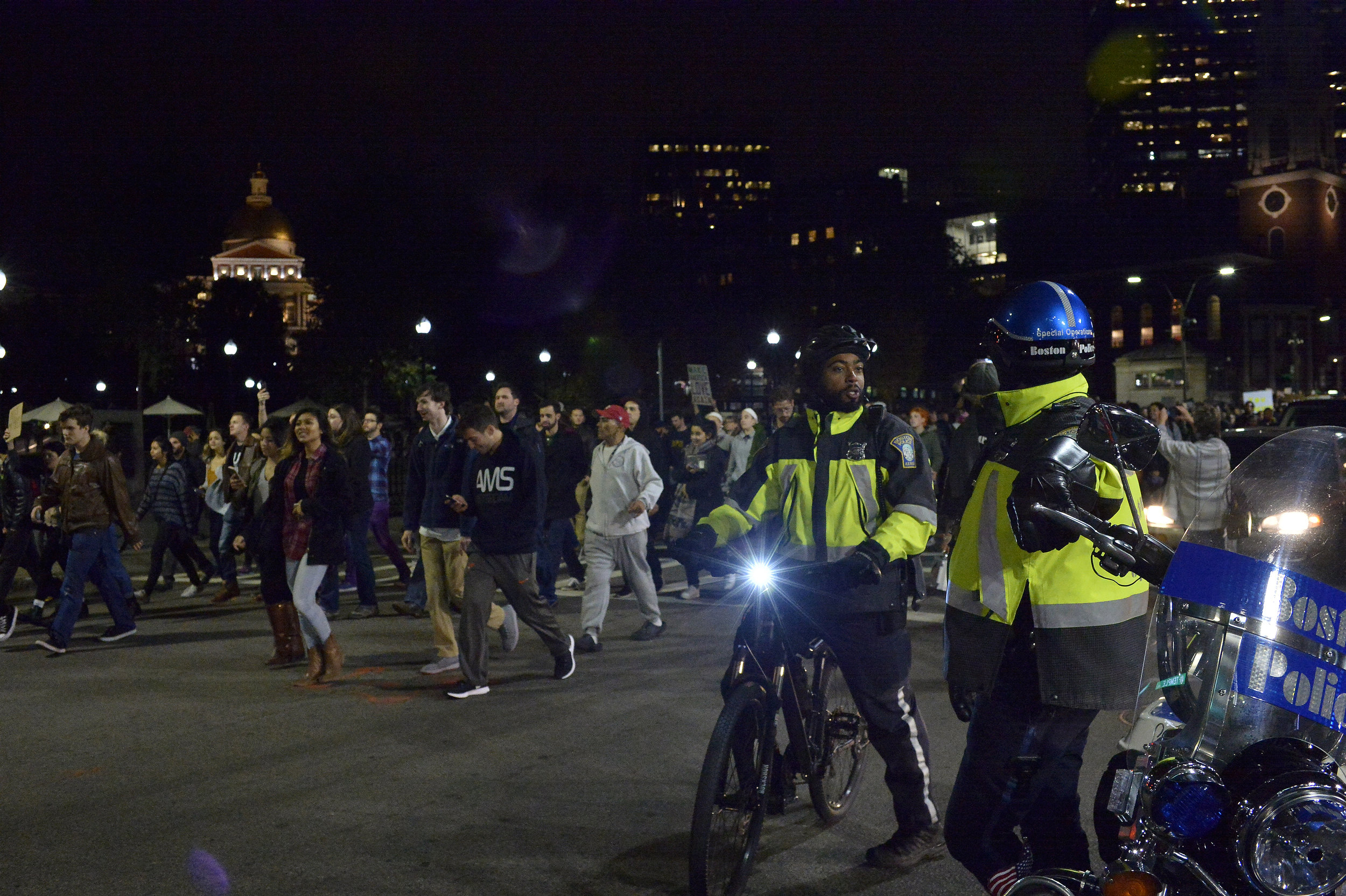 BOSTON, MA November 9, 2016: Boston Police estimate more than 6,000 protestors took part in a rally on Boston Common to protest the election of Republican president-elect Donald J. Trump on Tuesday, November 9, 2016. CR: Paul Marotta, SIPAUSA