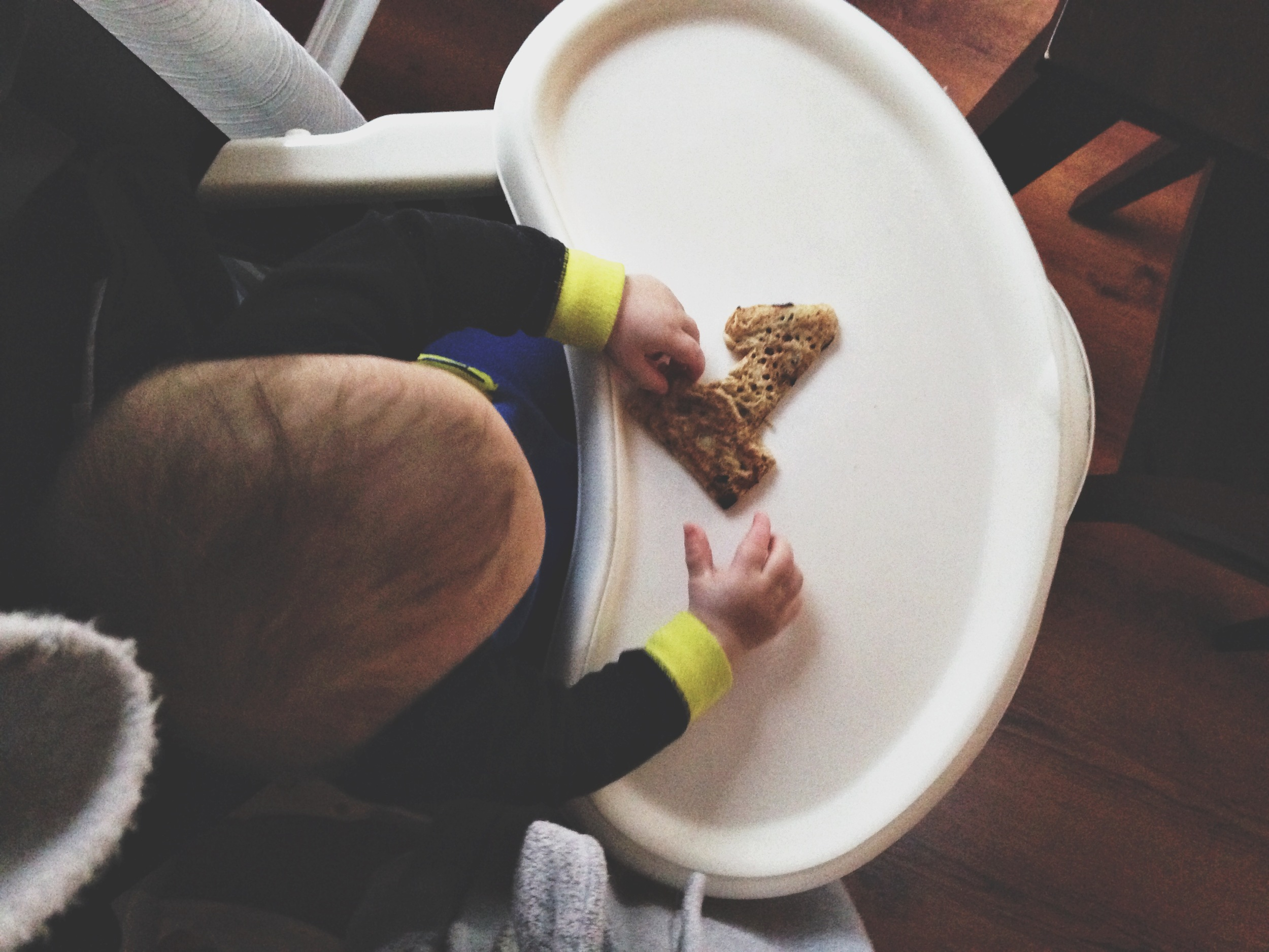 """Gluten free, dairy free, chocolate chip """"1"""" pancake that took me 12 attempts. He promptly threw it on the floor."""
