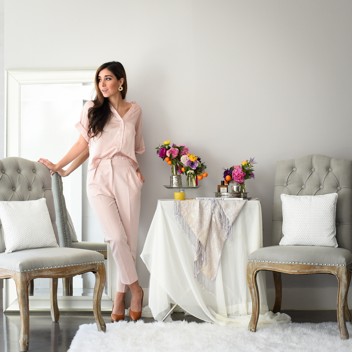 Floral arrangements by Margot Blair Floral. Subject and wardrobe styling: Jessi Ashfin of The Darling Detail.
