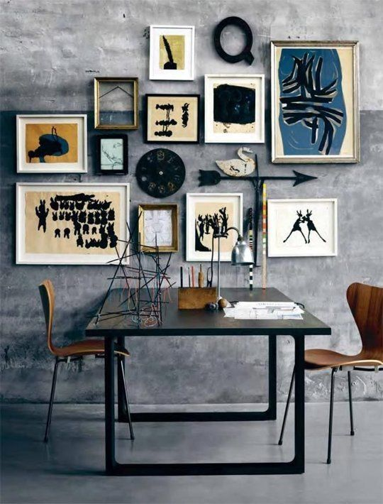 Use open frames to let the wallpaper, brick wall, or paint color to be framed out