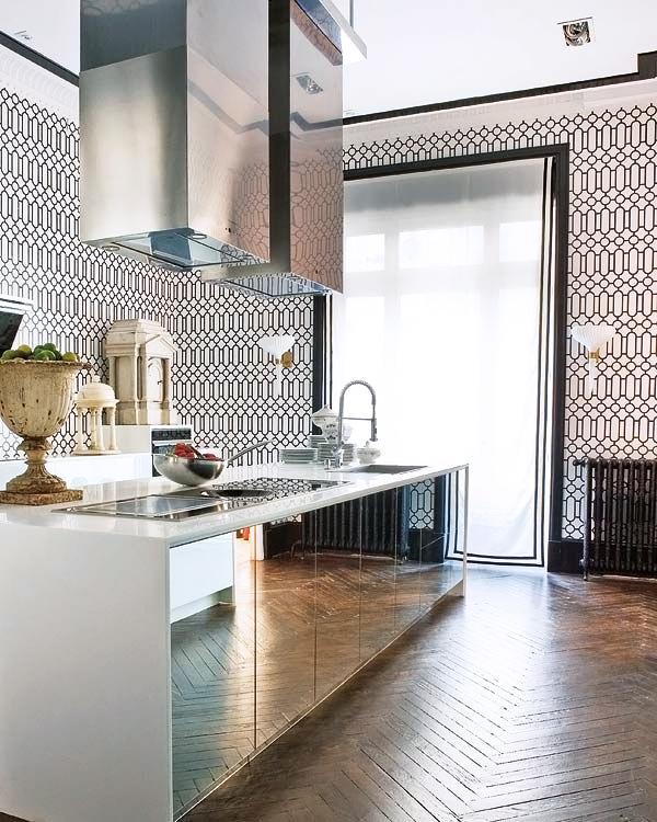 Kitchen cabinet mirrored doors!