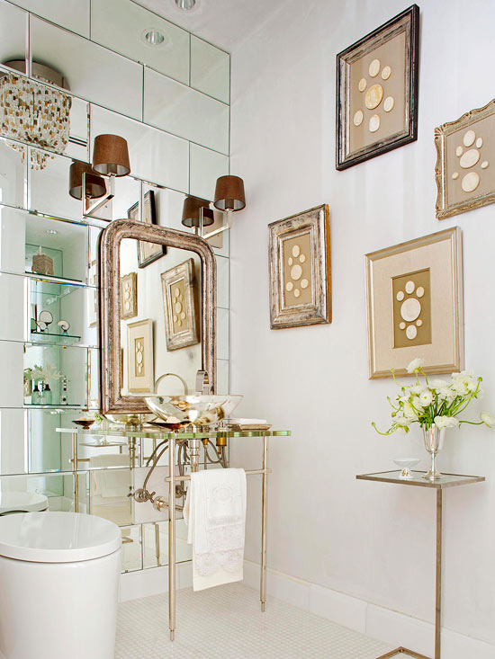 Making a small space larger by mirrored tiles!