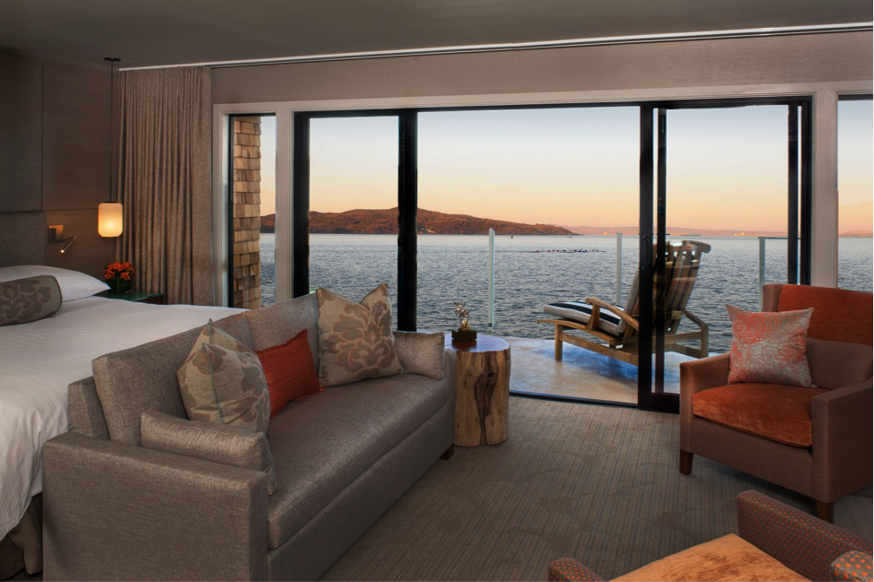 Such a beautiful and modern waterfront guest room.