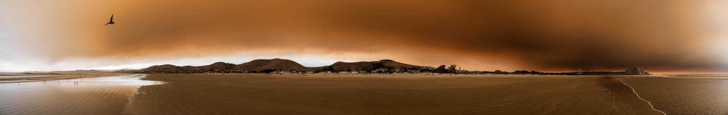 Panorama showing the smoke