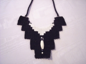 Needle Woven Necklace - Bone and Wooden Beads