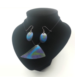 Purple, Blue and Green PrismaColor on Copper Necklace and Earrings