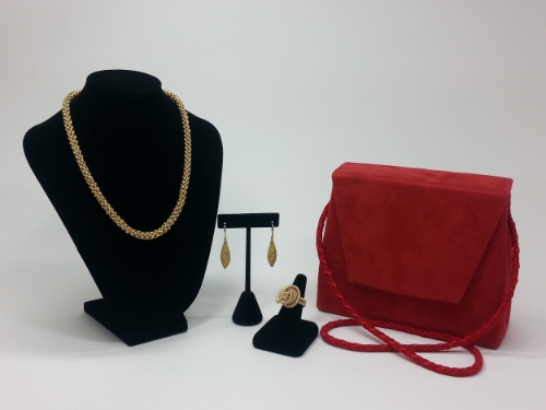 Amarah - Suede Cloth Handbag w/ Coordinating Gold Hand Beaded Necklace, Earrings and Wire Wrapped Ring