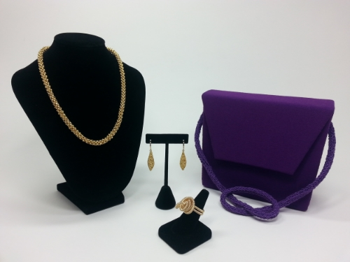 Nina - Wool Crepe Handbag w/ Hand Knitted Strap and Coordinating Jewelry