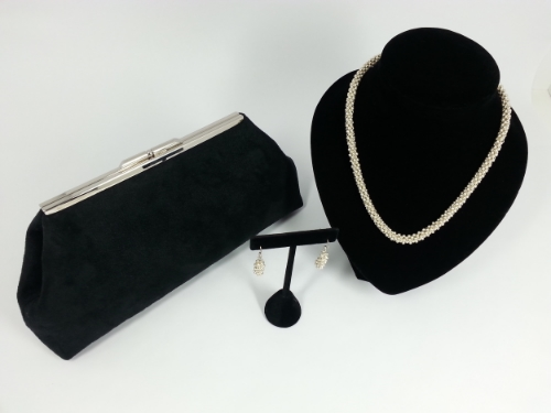 Jasmine - Suede Cloth Clutch w/ Coordinating Silver Hand Beaded Necklace and Earrings