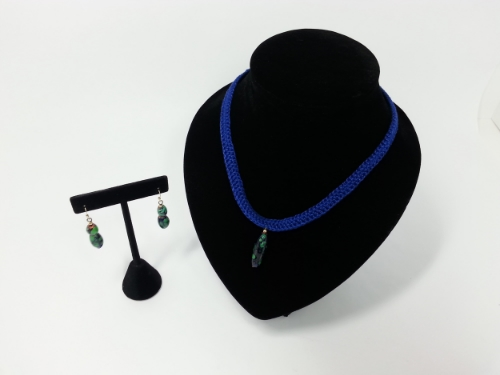 Hand Crocheted Necklace w/ Coordinating Ceramic Earrings and Necklace Charm