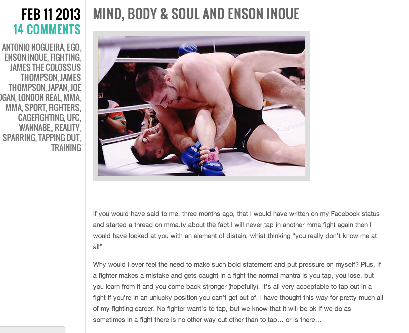"Colossal Concerns: mind, body and soul and Enson Inoue   By James ""The Colossus"" Thompson February 11, 2013"
