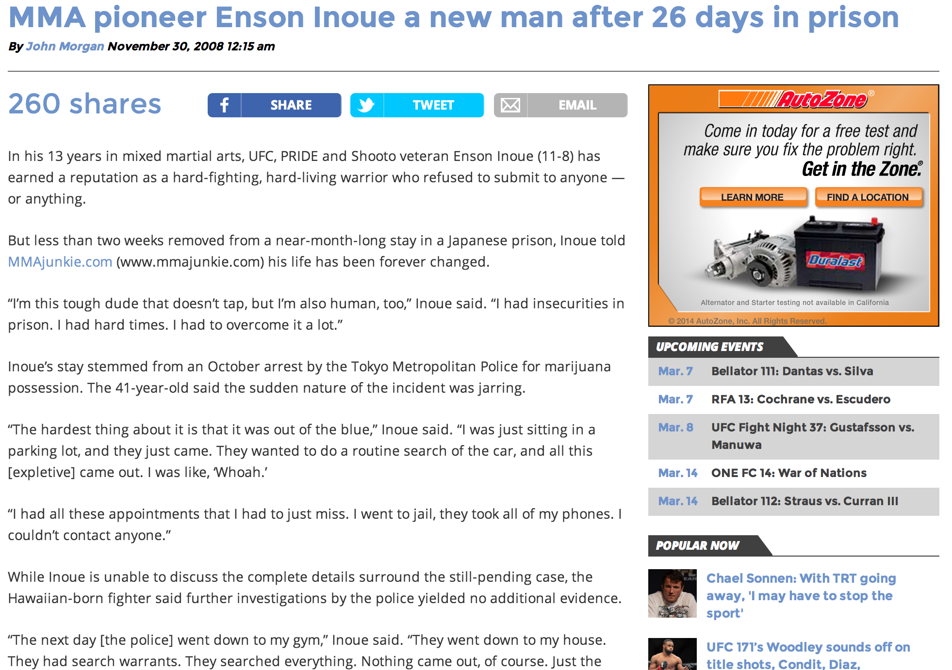 MMA pioneer Enson Inoue a new man after 26 days in prison   By John Morgan | Nov 29, 2008
