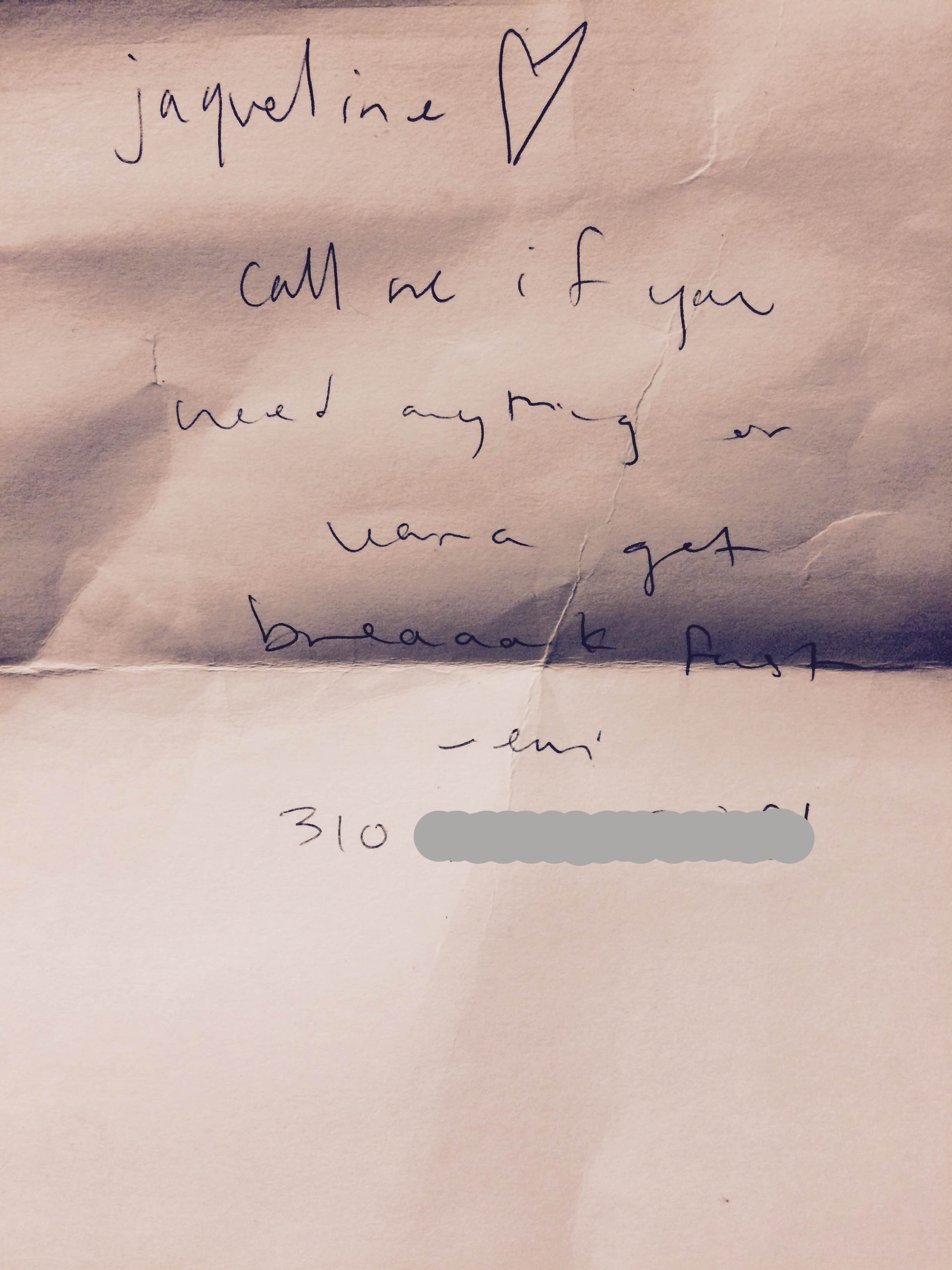 A note from emi left for Jacqueline Young