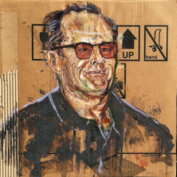SOLD ///  Container XI (Jack Nicholson)  • 21 X 21 • 2012 • Acrylic on Cardboard