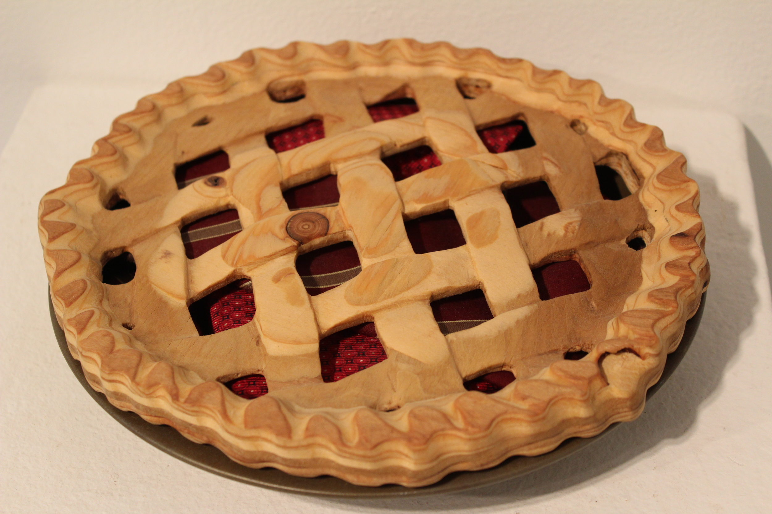🔴 SOLD ///  American Pie  • 2.5 X 9 X 9 • Plywood, Neckties, and Pie Tin