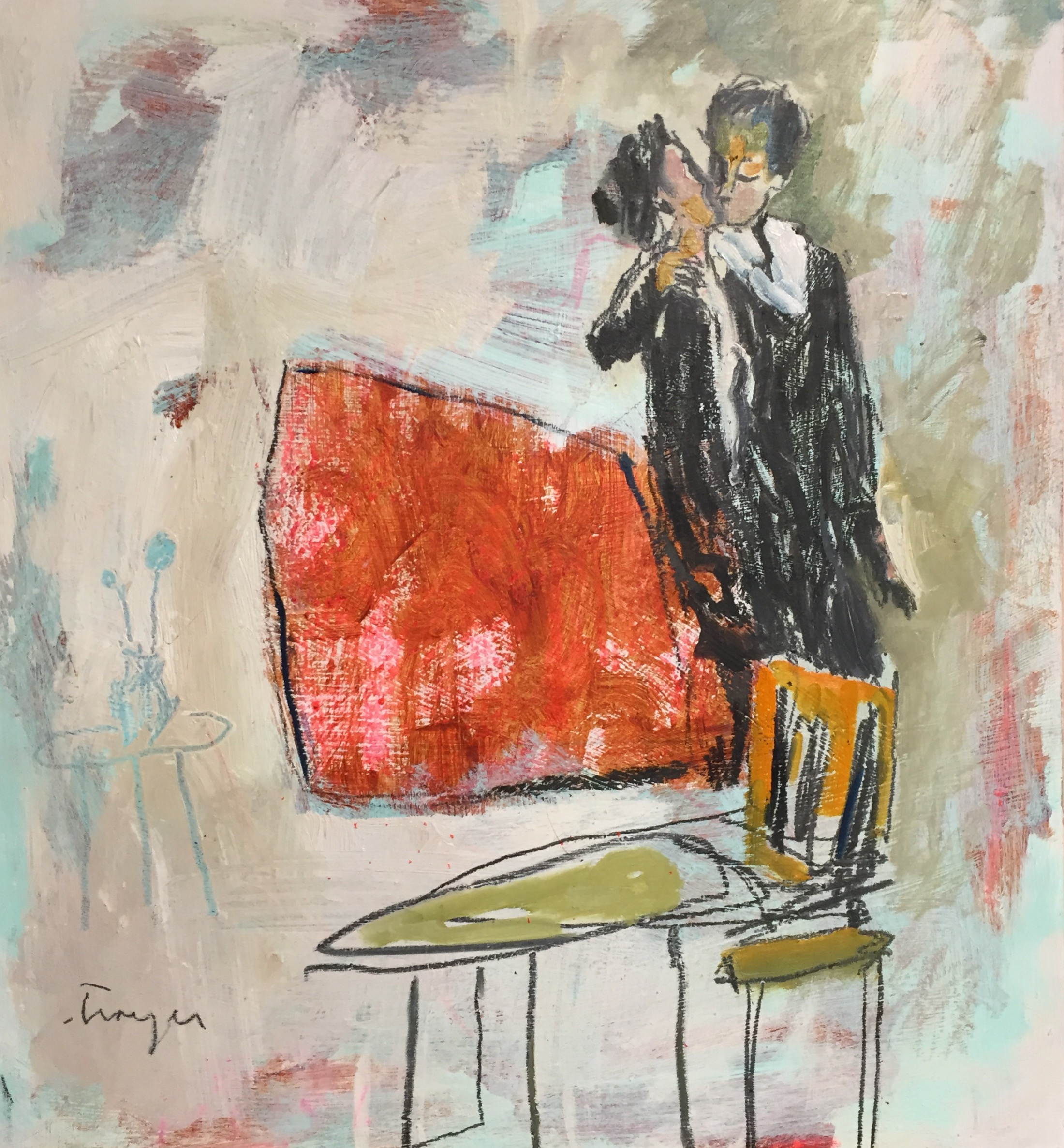 Kissing by the Couch  • 18 X 20 • mixed media on panel