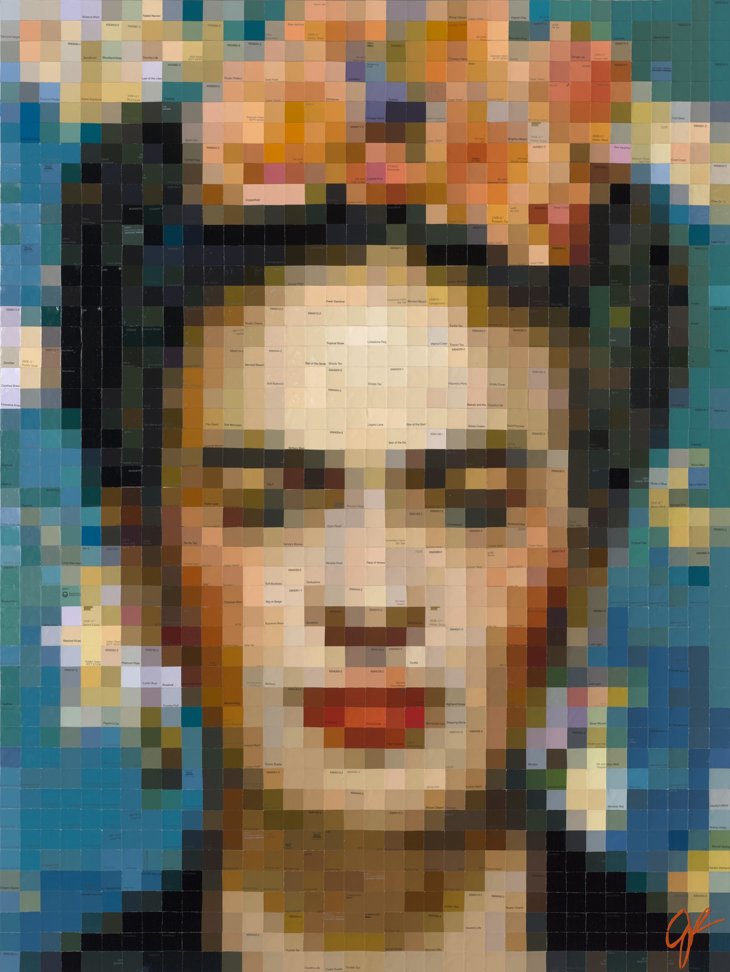 Frida with Orange Begonias  • 48 X 36 • limited-edition print, texturized with gel medium