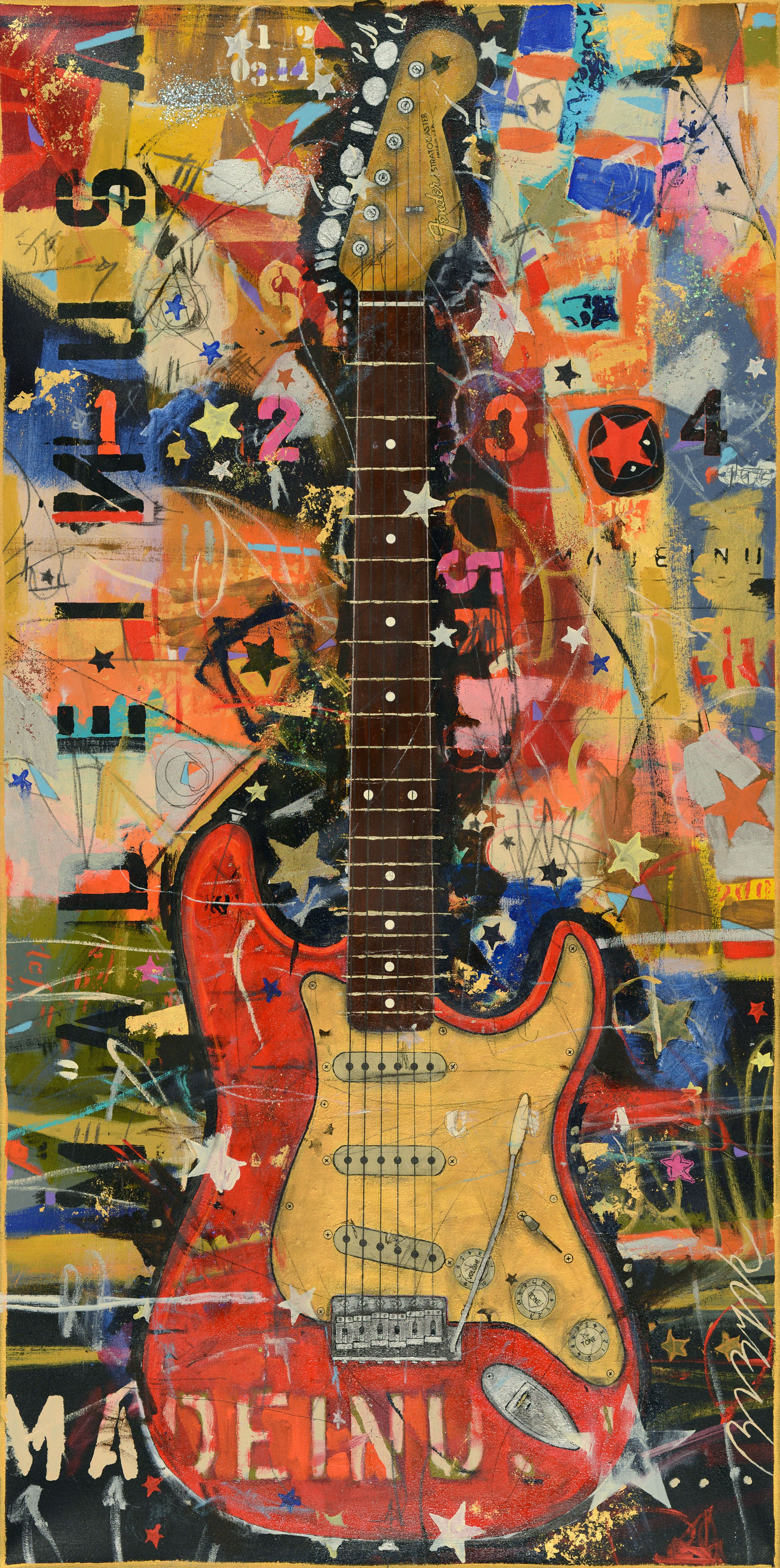 Red Stratocaster  • 72 X 36 • Acrylic, graphite, glitter, 24K gold leaf on canvas