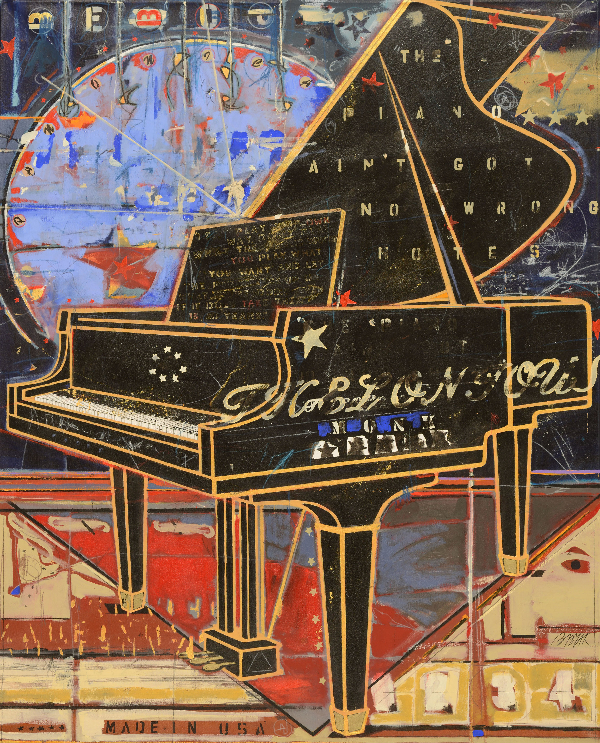 Piano Ain't Got No Wrong Notes  • 62 X 50 • acrylic, graphite, glitter, 24K gold leaf on canvas