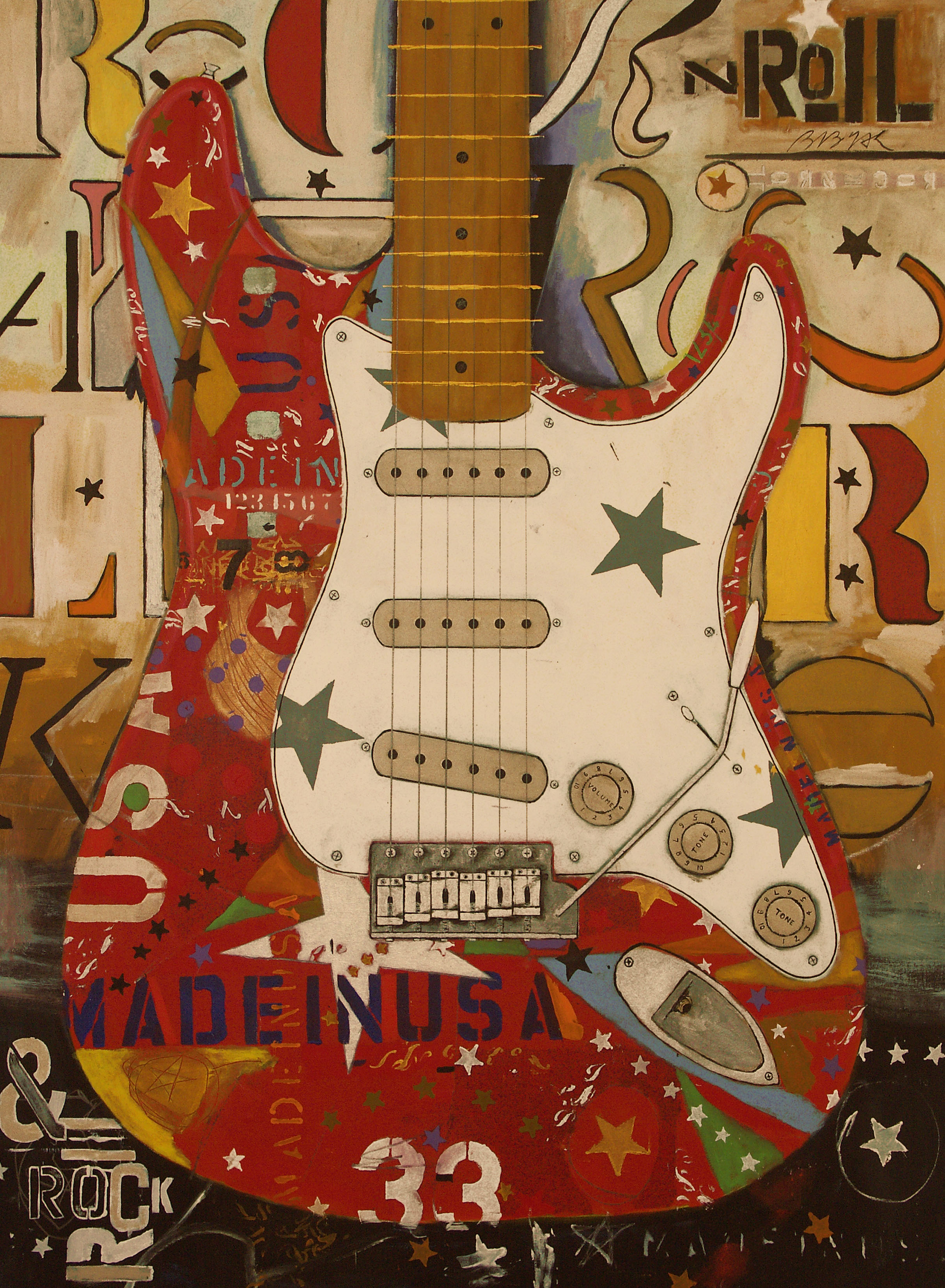 Red Stratocaster White Pickguard  • 75 X 56 • acrylic, graphite on canvas
