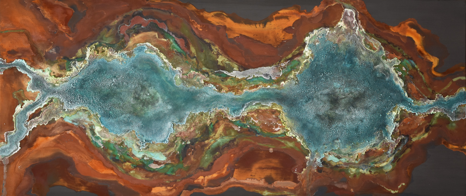 🔴 SOLD ///  Confluence  30 X 84 • mineral on panel