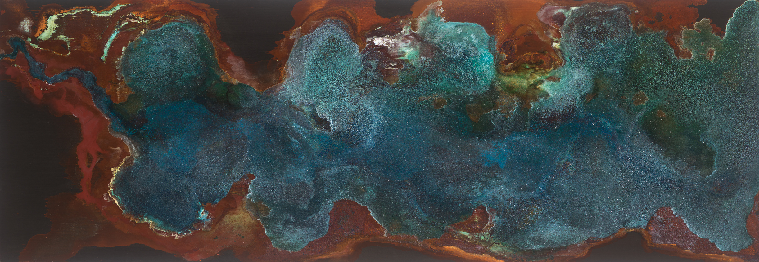 🔴 SOLD ///  Veridian  30 X 84 • mineral on panel