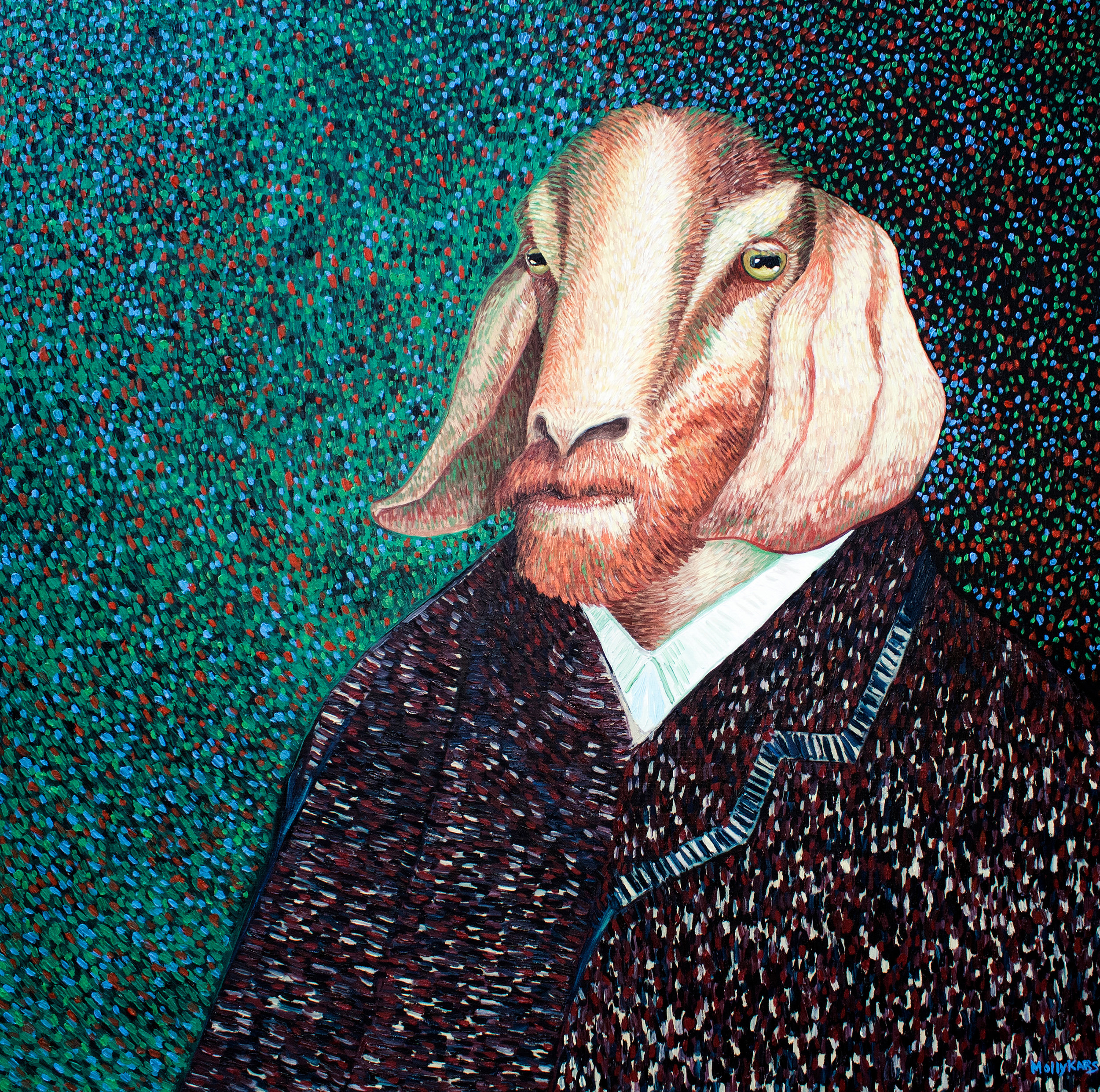 SOLD /// Van Goat Self-Portrait III: Brown Jacket • 36 x 36 • oil on canvas • $3,200