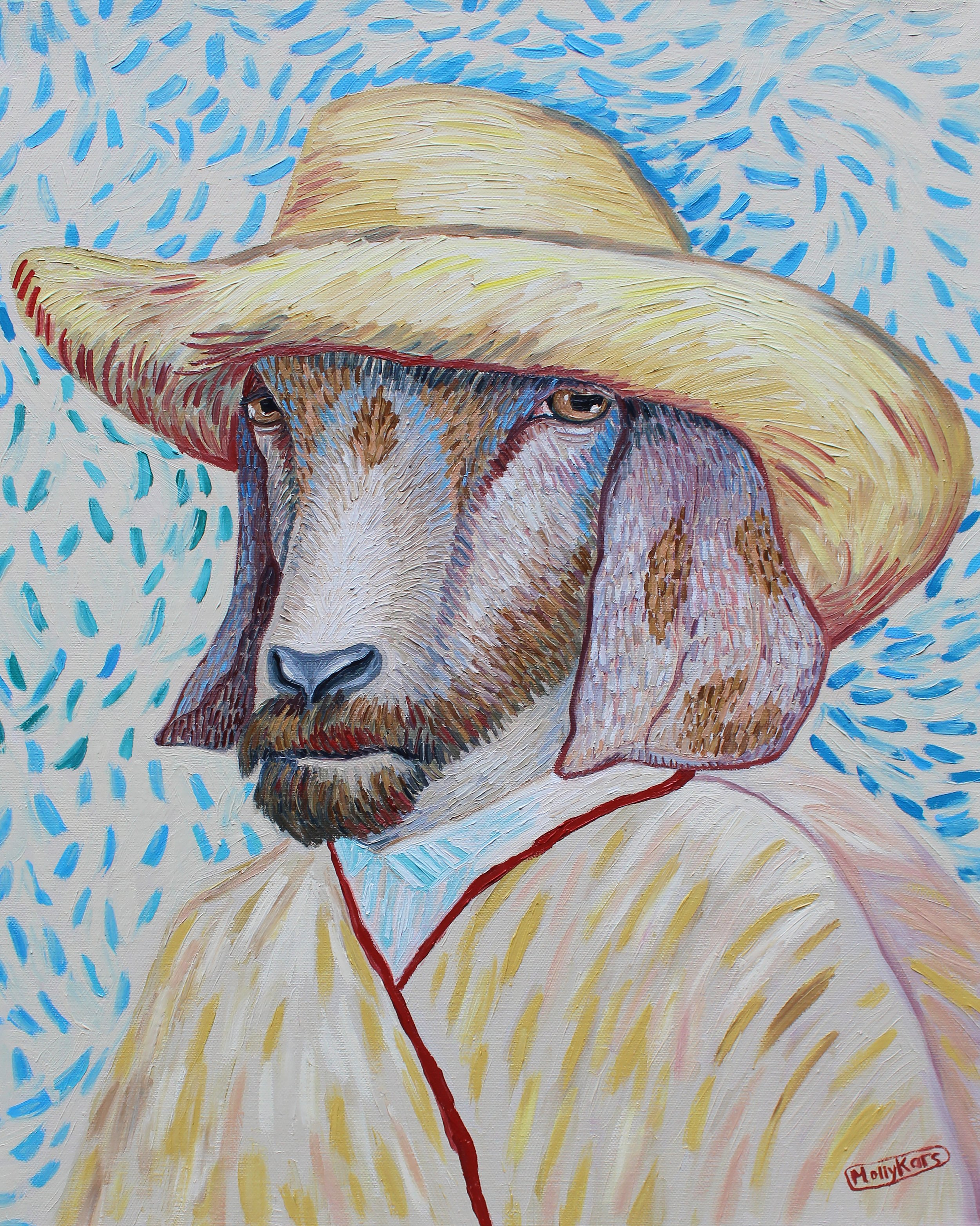 SOLD /// Van Goat Self-Portrait II: Straw Hat I • 20 x 16 • oil on canvas • $1,200