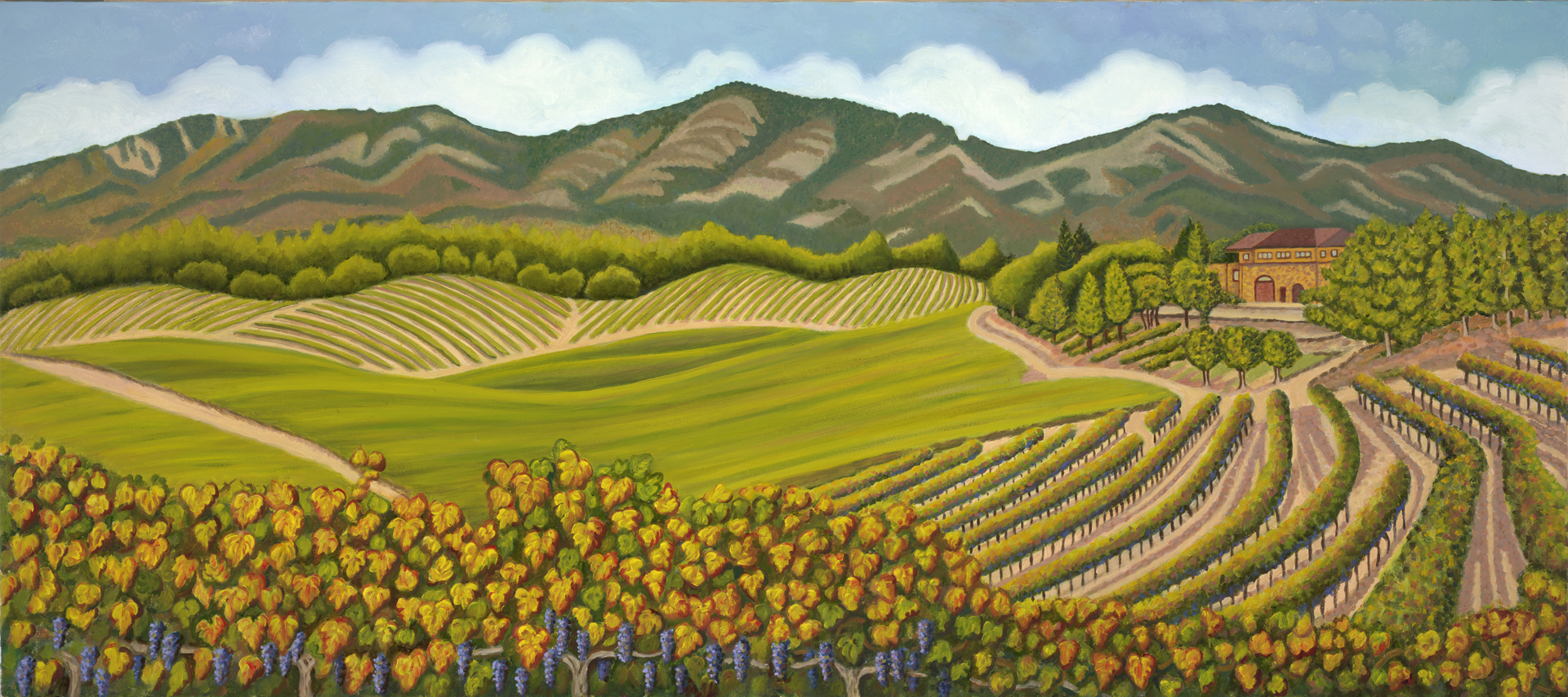 JAYE ///  WINE COUNTRY PANORAMA  • 24 X 54 • OIL ON CANVAS •  $2,400