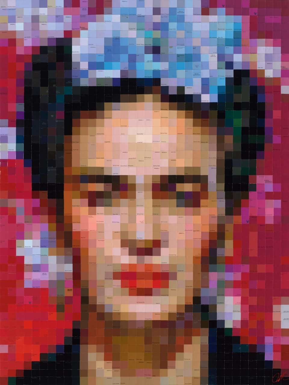 Frida with Blue Begonias  • 48 X 36 • limited-edition print, texturized with gel medium