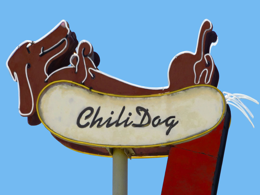 🔴 SOLD (prints available) ///  Chili Dog  • 15 X 20 • limited edition print on canvas, resin •  $450