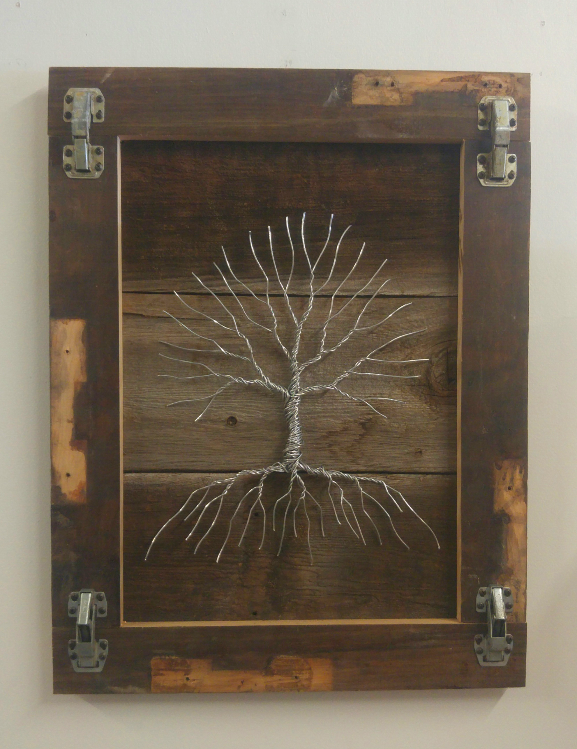 Unhinged   27 x 21 • barn wood, wire   $495