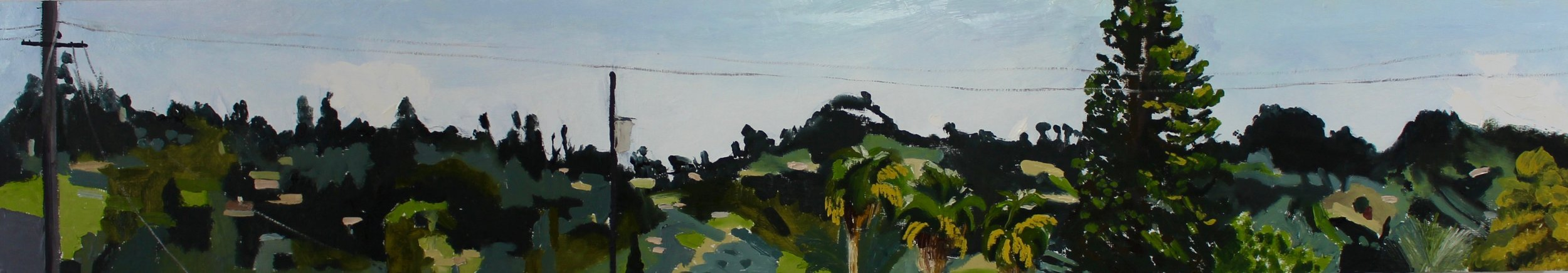 HILLS FROM THE WINDOW •  9.5 X 52 • ACRYLIC AND OIL ON PANEL •  $1,495