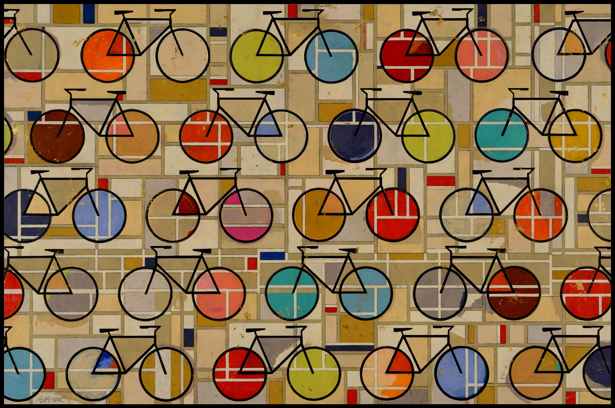 Bicycles  • 36 X 54 • Acrylic, 24K gold leaf, graphite on panel. Resin coated & framed.
