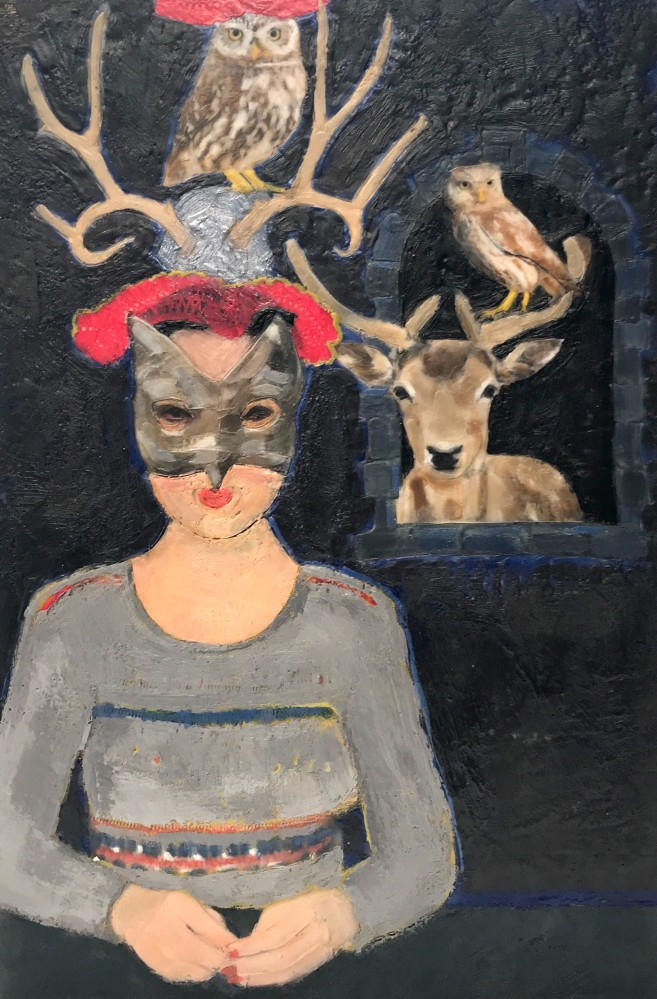 Reindeer and Owl Games  • 18 X 12 • mixed media, encaustic on panel •  $395