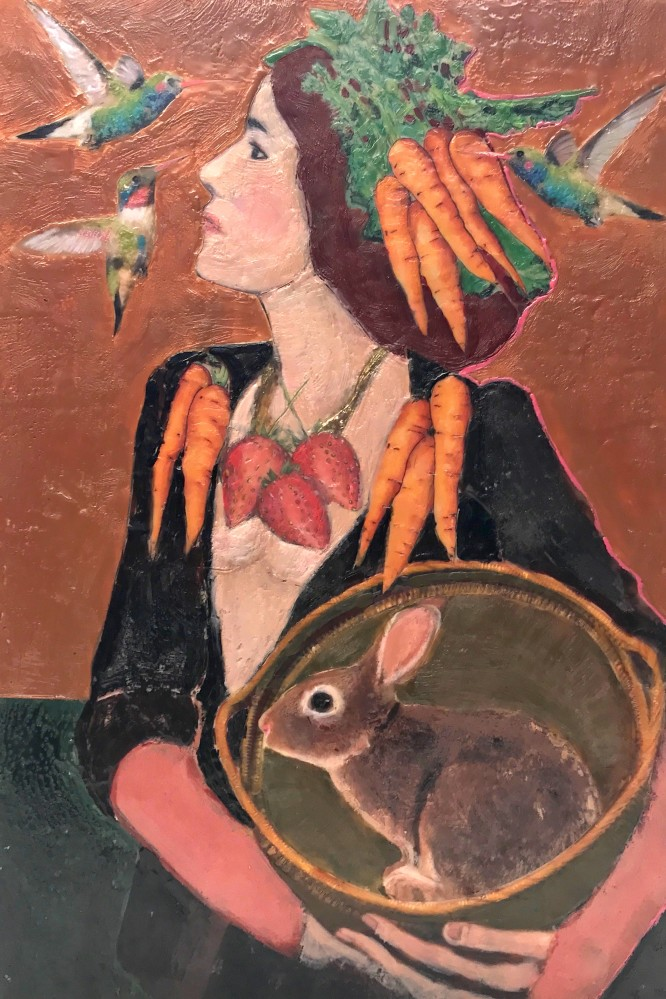 Wild Strawberries, Hare, and Woman  • 18 X 12 • mixed media, encaustic on panel •  $395