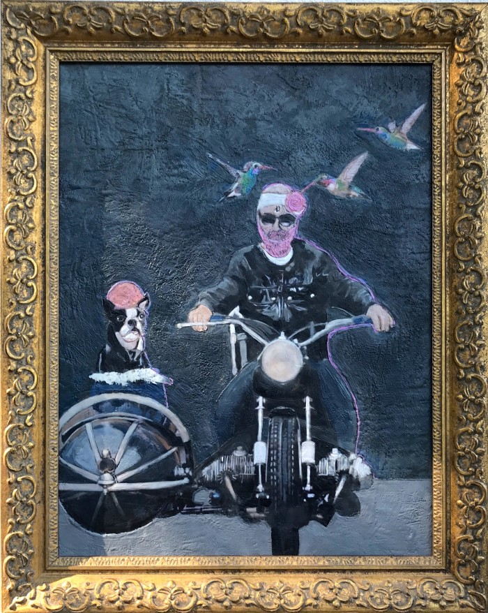 Pinky and the Brain  • 30 X 24 • mixed media, encaustic on panel (framed)