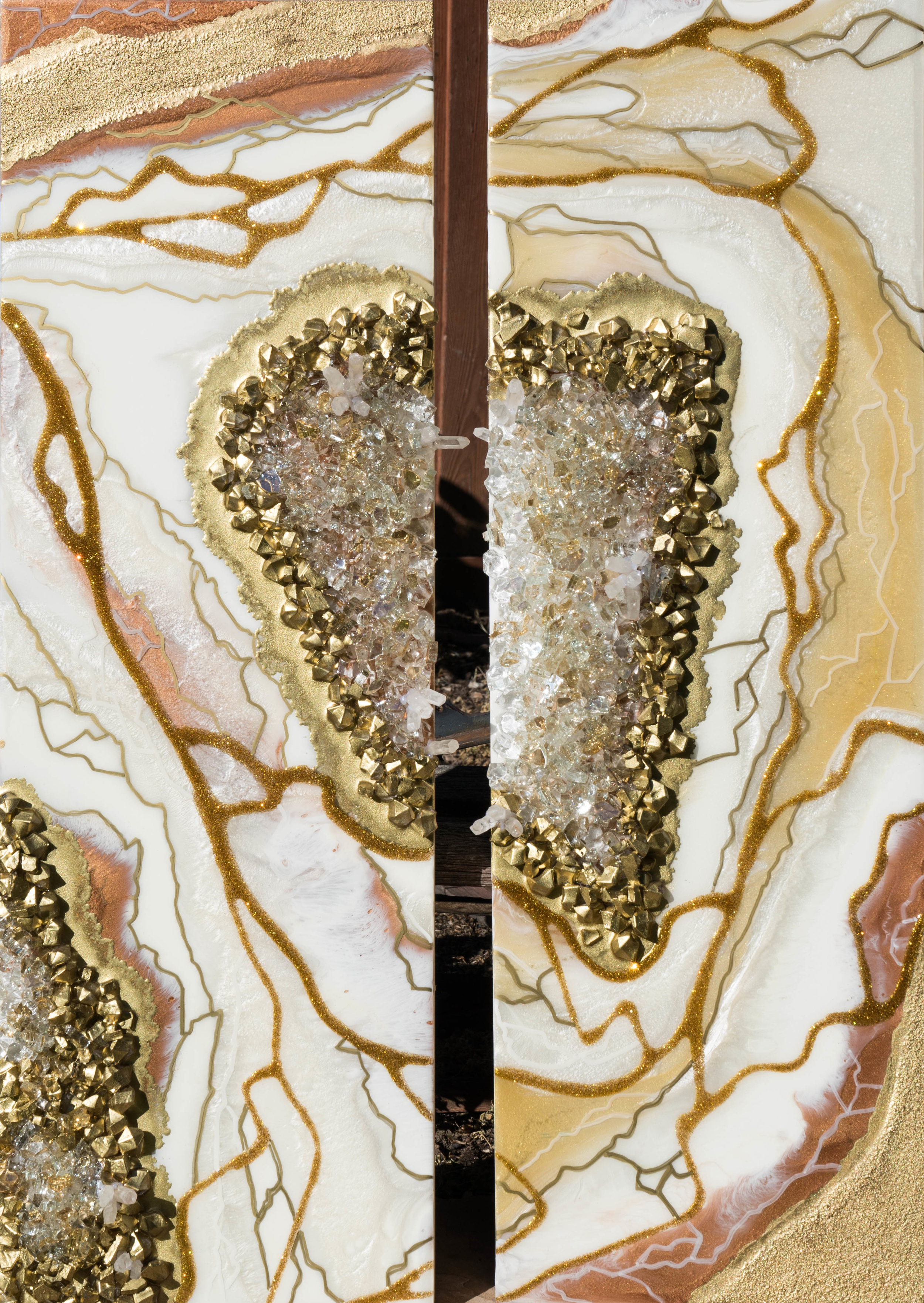 MO'OREA (DIPTYCH)  24 X 36 • CRYSTALS, GLITTER, RESIN ON PANEL •  $1,200