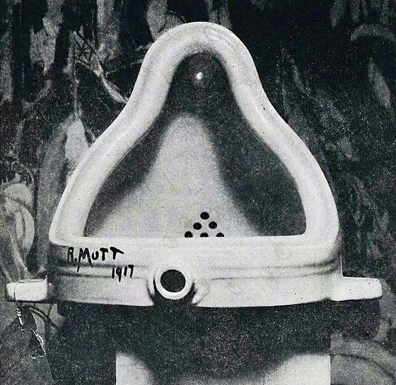 """Marcel Duchamp's famous (infamous?) """"Fountain"""" - a urinal inscribed with the pseudonym R. Mutt. Photo courtesy of  Wikimedia Commons ."""