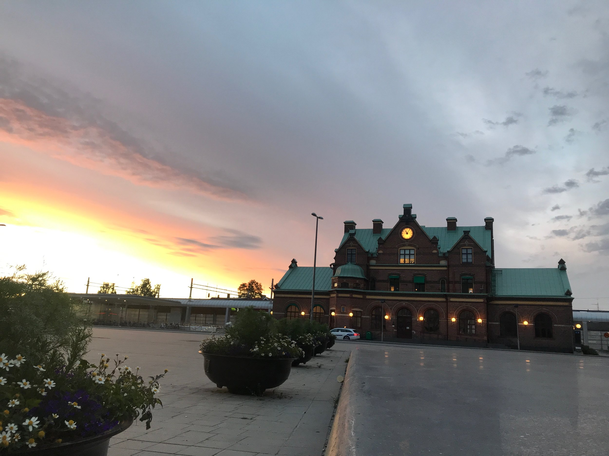 Umeå Train Station--summer midnight