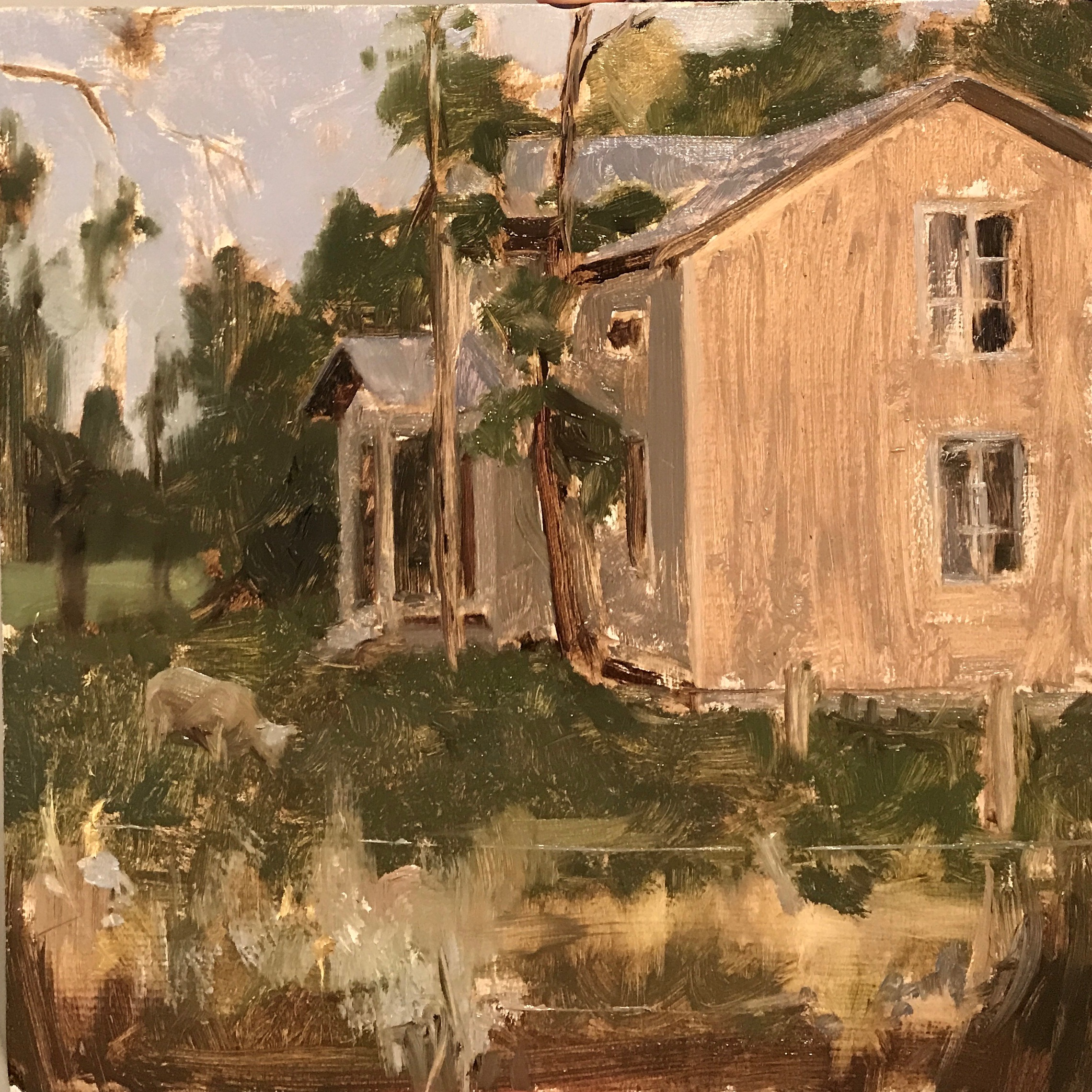"""Little 8"""" x 8"""" warm up, about an hour and a half between 8:30 and 10 pm.This abandoned """"Spook House"""" is part of the 4H sheep pen scenery.(And I thought 4H was just a rural Midwest thing.)"""