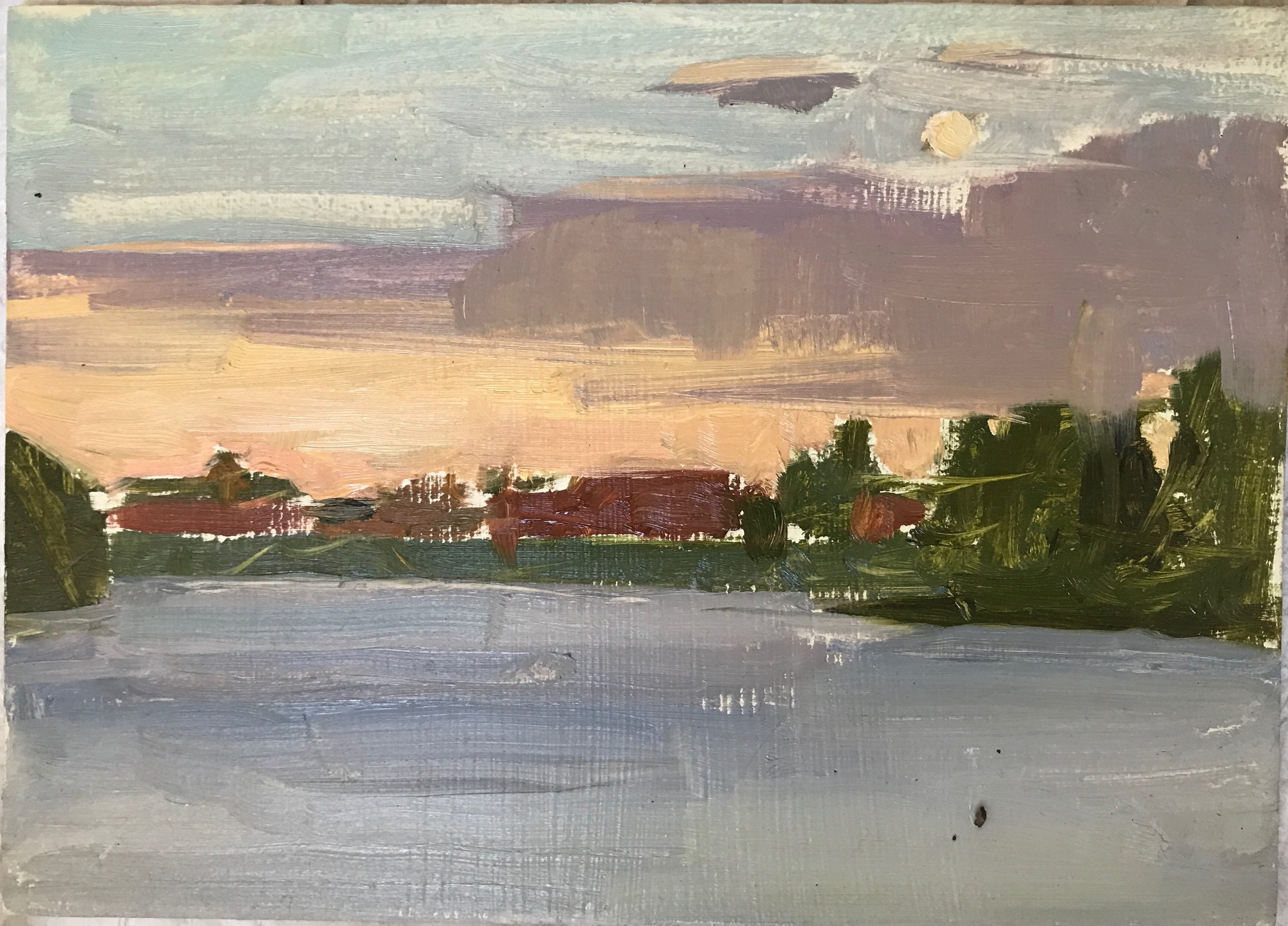 View from the Boat with dirt speck. Painted after closing between :2:30 and 4 am.