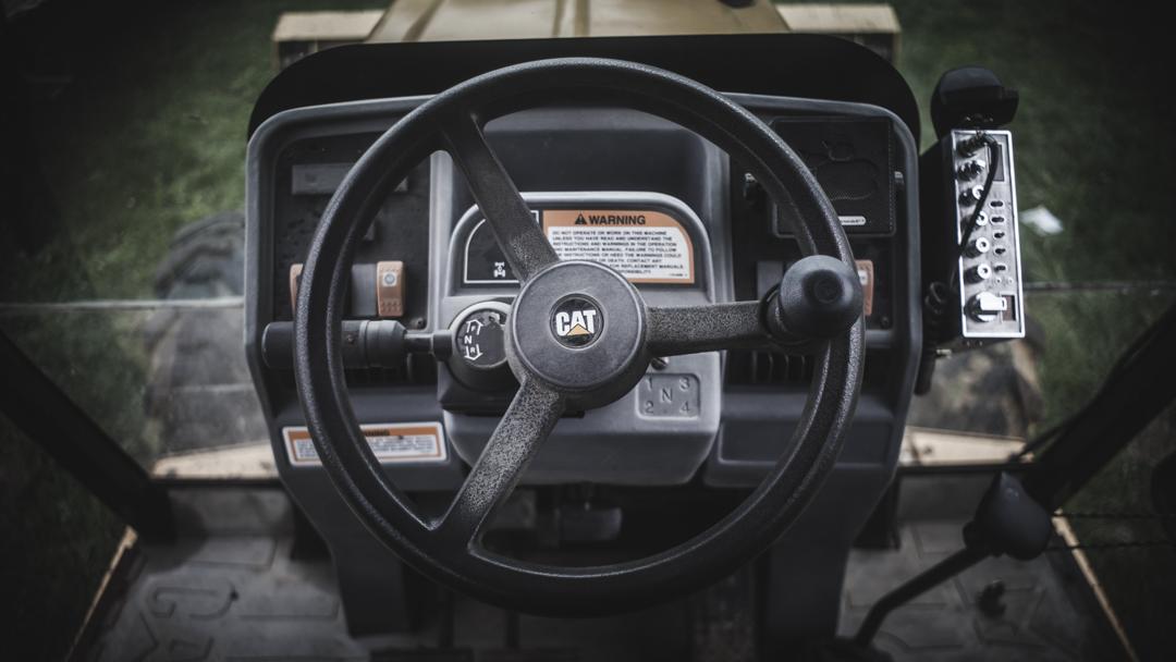 Inside our CAT loader(Photo:Joint Base McGuire-Dix-Lakehurst site work)