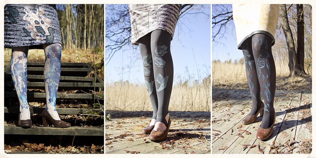 4) 'Roiske'-sukkahousut 5 ) 'Pikku ystävät'-leggingsit 6 ) 'Bakteeri'-sukkahousut