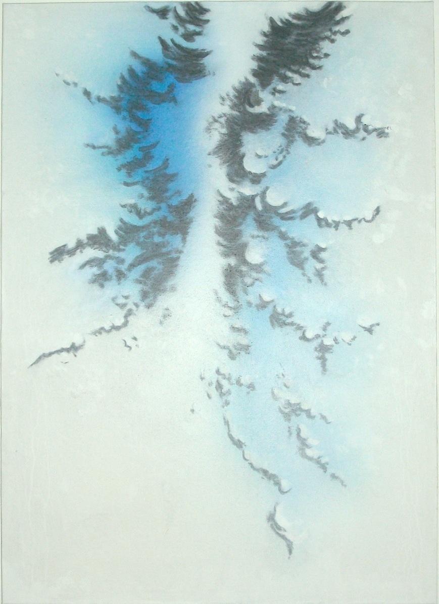 Désir encore    acrylique et fusain sur toile marouflée  dimensions : 64 x 88 cm