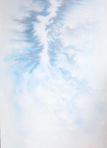 Plus loin    acrylique et fusain sur toile marouflée  dimensions : 64 x 88 cm