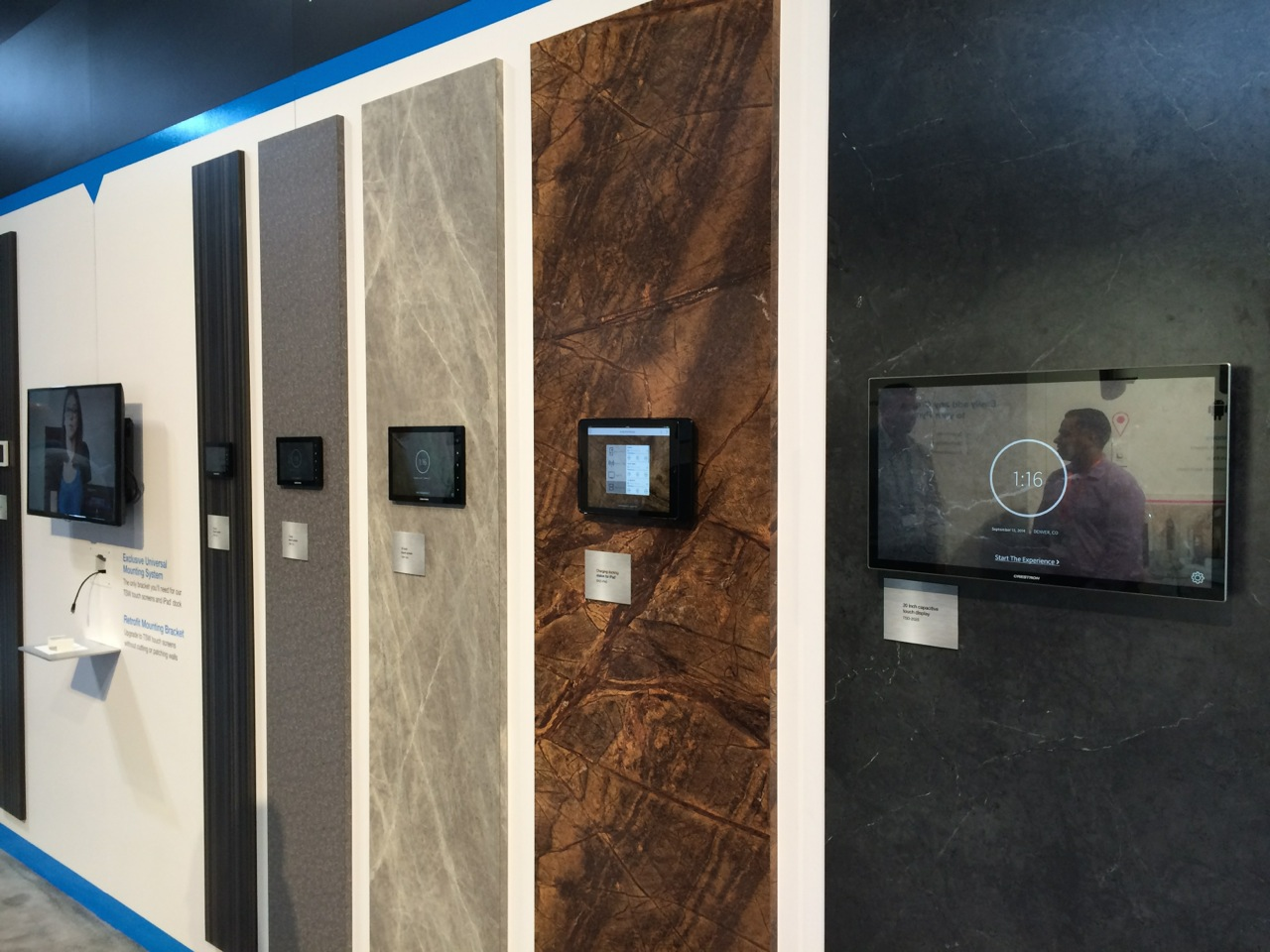 An array of Crestron touch panels